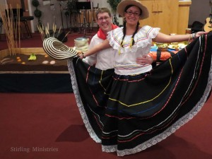 Craig and Yadith showing the Colombian typical outfits